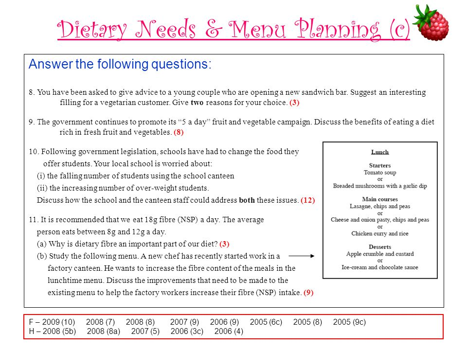 Dietary Needs & Menu Planning (c)