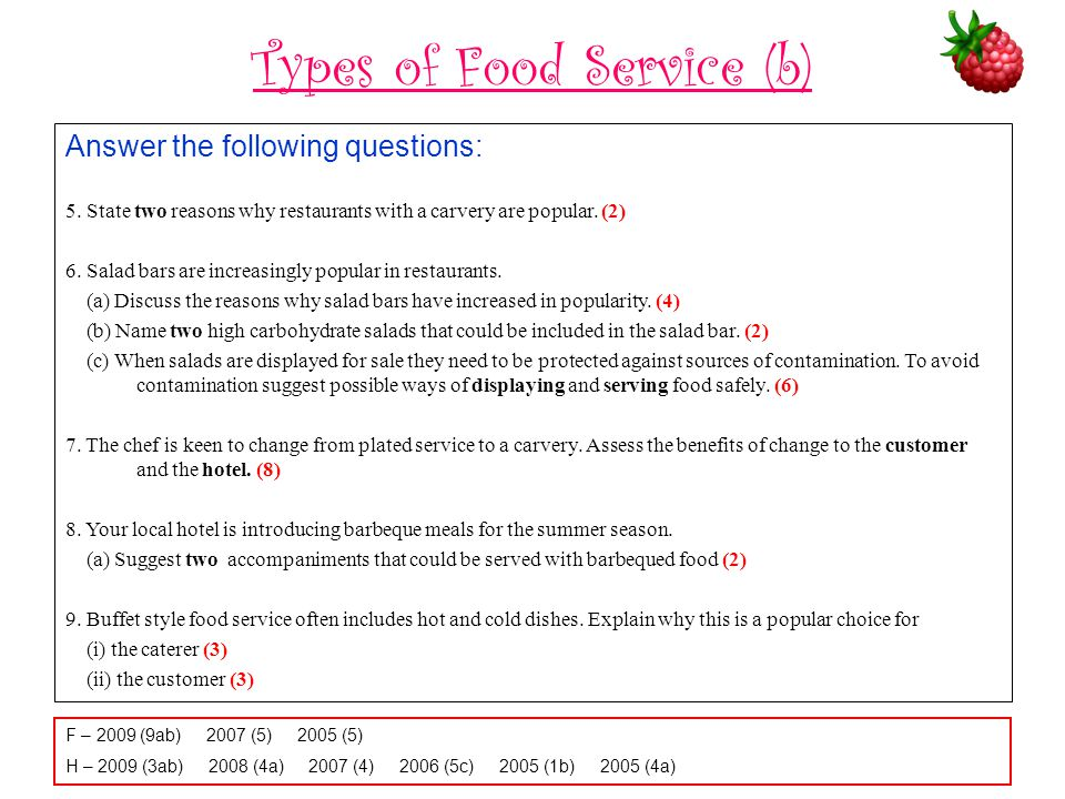 Types of Food Service (b)