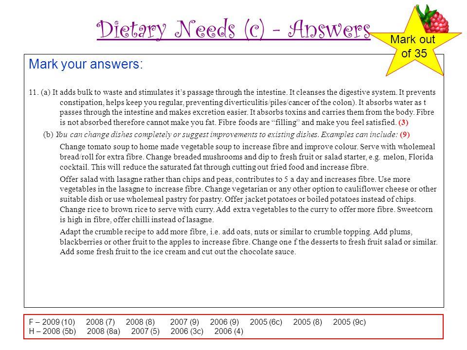 Dietary Needs (c) - Answers