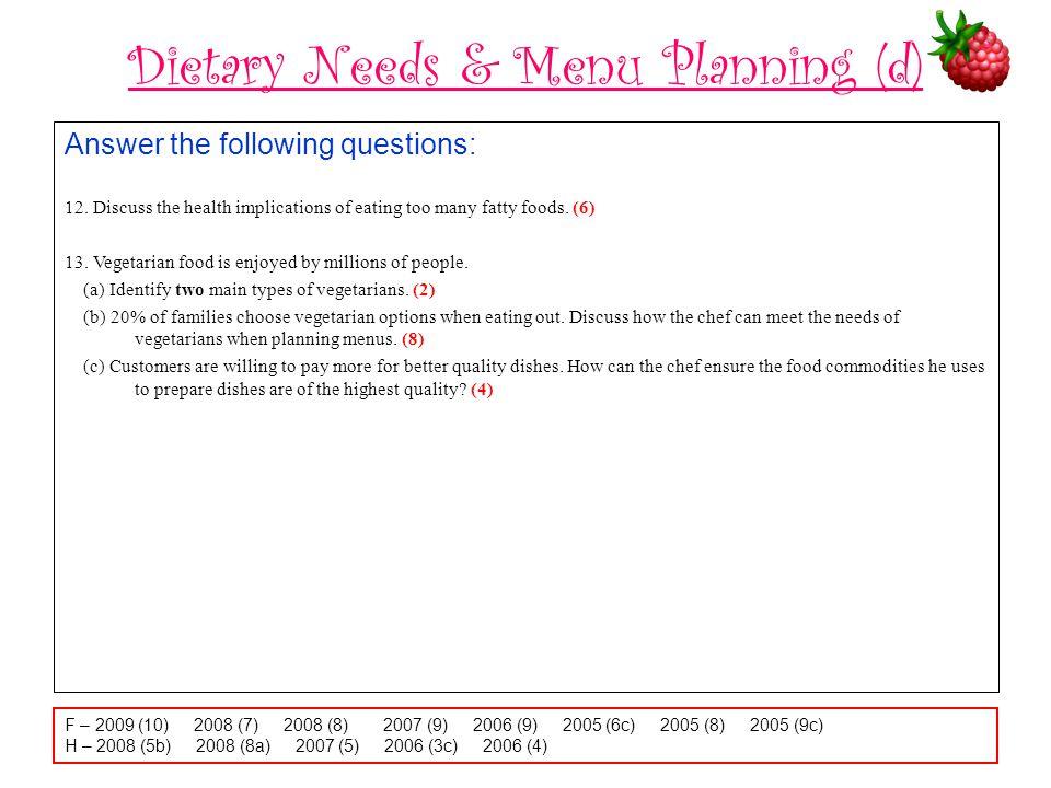 Dietary Needs & Menu Planning (d)
