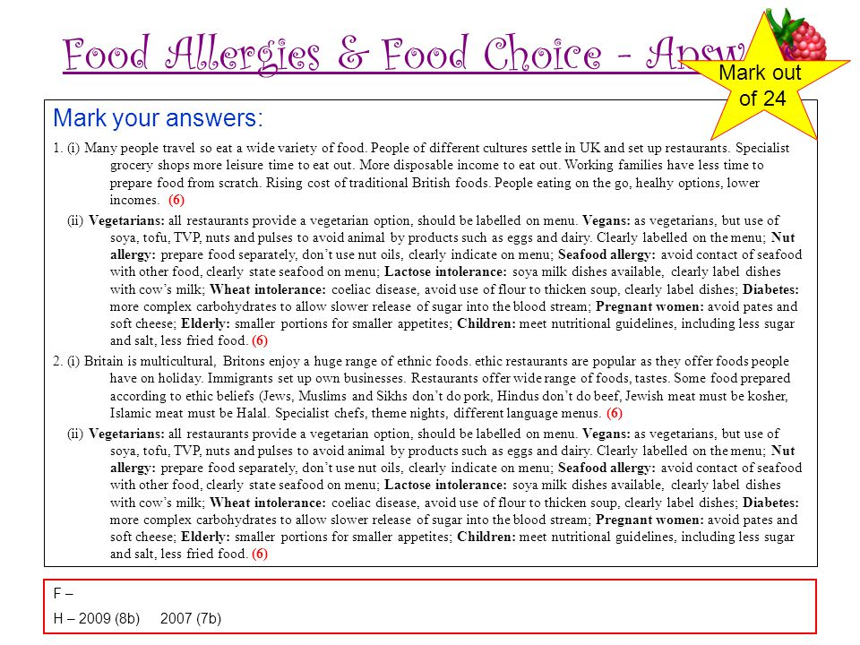 Food Allergies & Food Choice - Answers