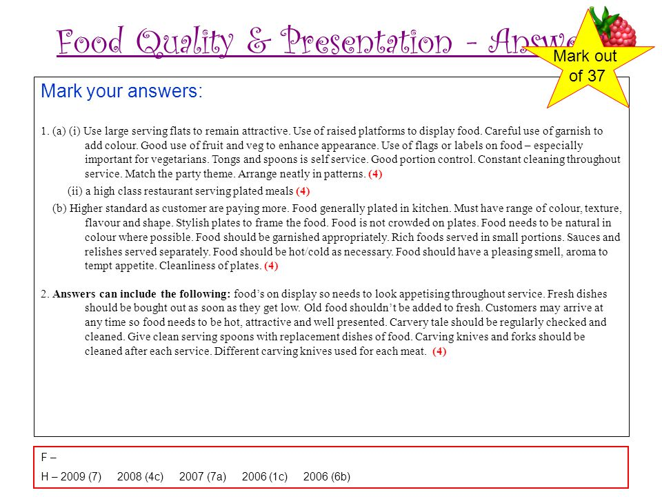Food Quality & Presentation - Answers