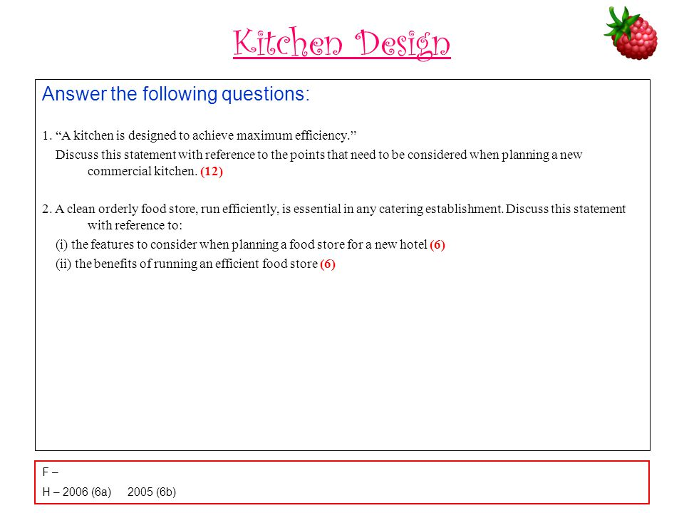 Kitchen Design Answer the following questions: