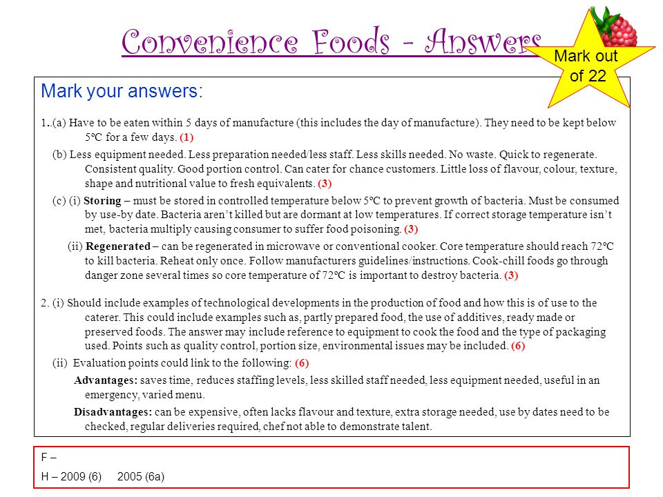 Convenience Foods - Answers