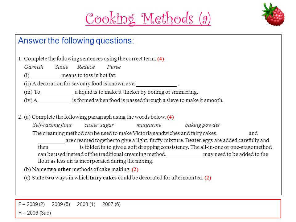 Cooking Methods (a) Answer the following questions: