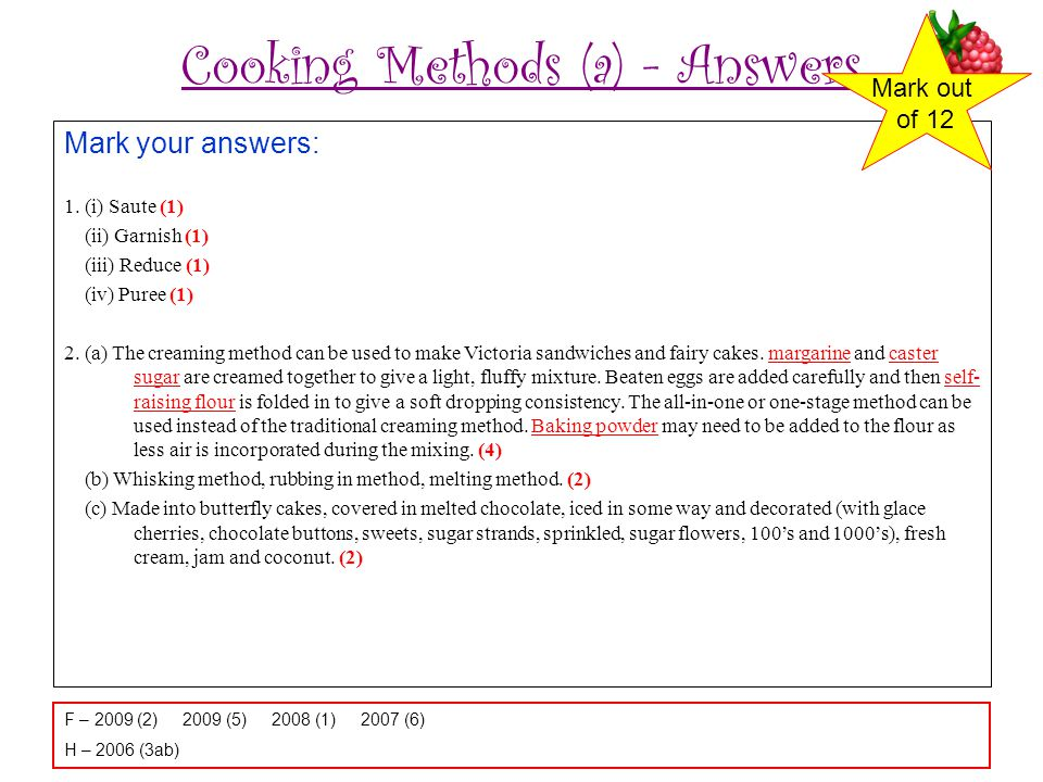 Cooking Methods (a) - Answers