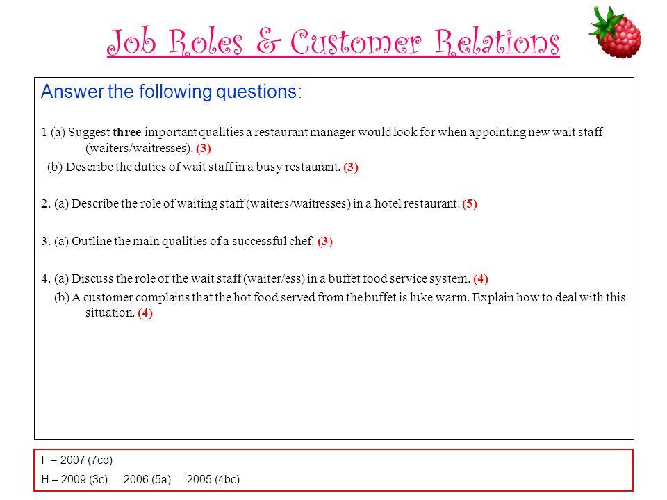 Job Roles & Customer Relations