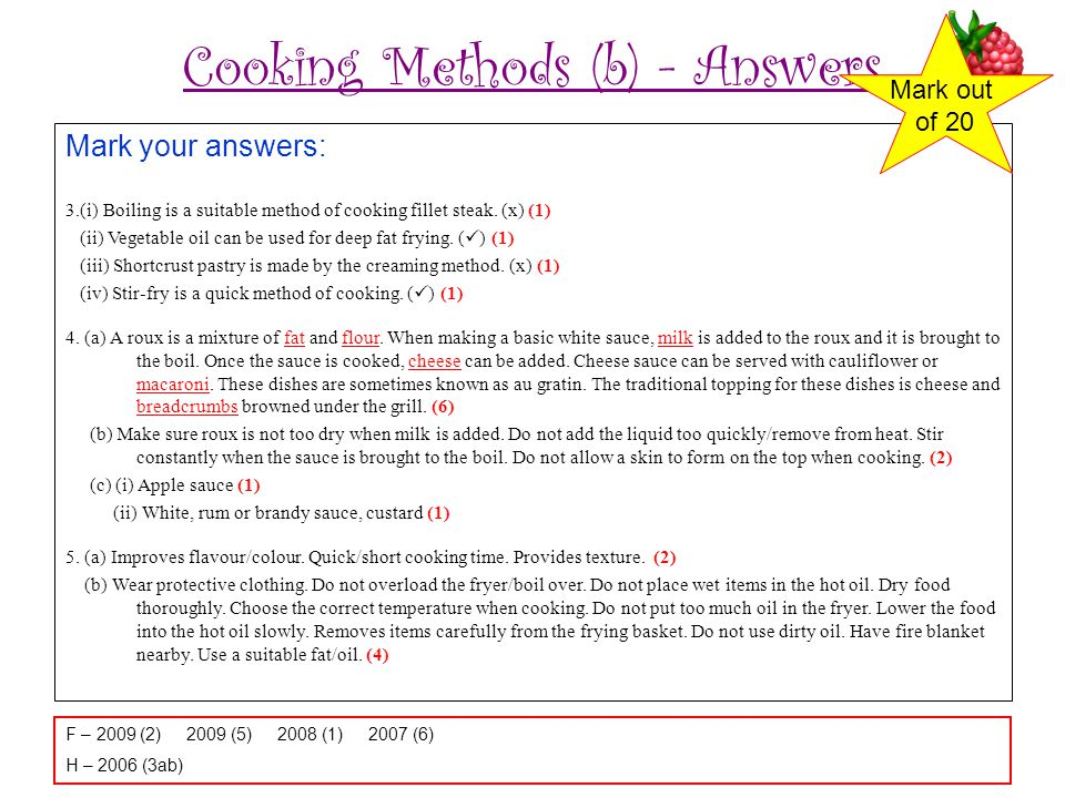 Cooking Methods (b) - Answers