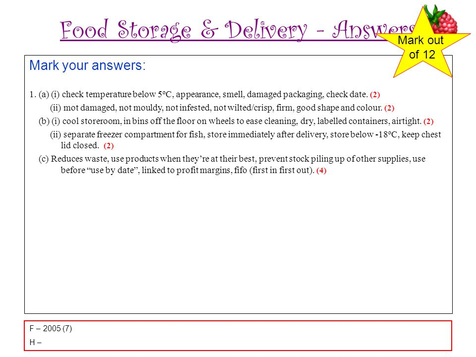 Food Storage & Delivery - Answers