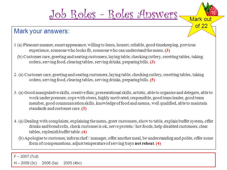 Job Roles - Roles Answers