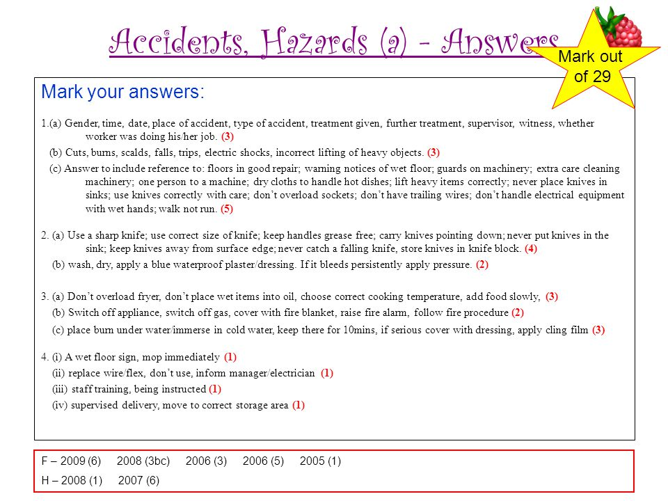 Accidents, Hazards (a) - Answers