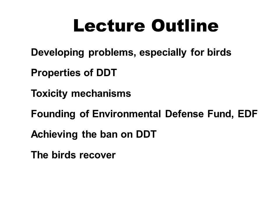 Lecture Outline Developing problems, especially for birds