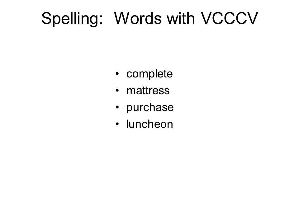 Spelling: Words with VCCCV