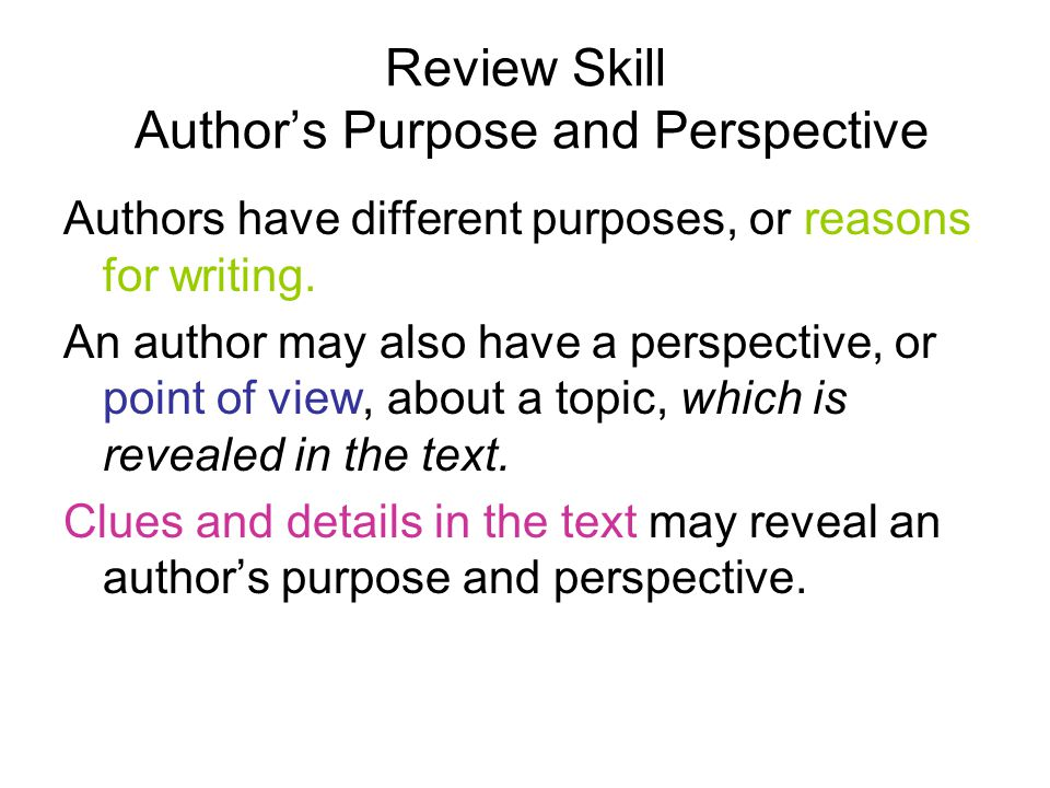 Review Skill Author's Purpose and Perspective