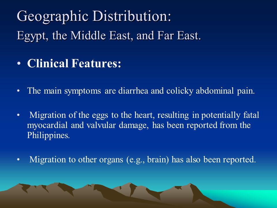 Geographic Distribution: Egypt, the Middle East, and Far East.