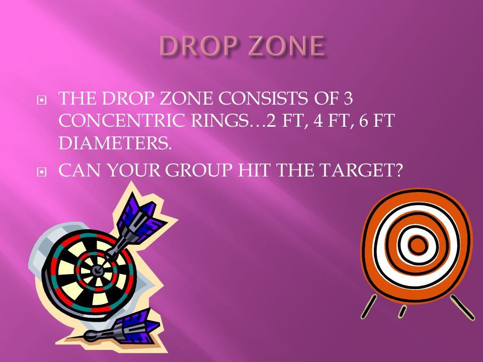 DROP ZONE THE DROP ZONE CONSISTS OF 3 CONCENTRIC RINGS…2 FT, 4 FT, 6 FT DIAMETERS.