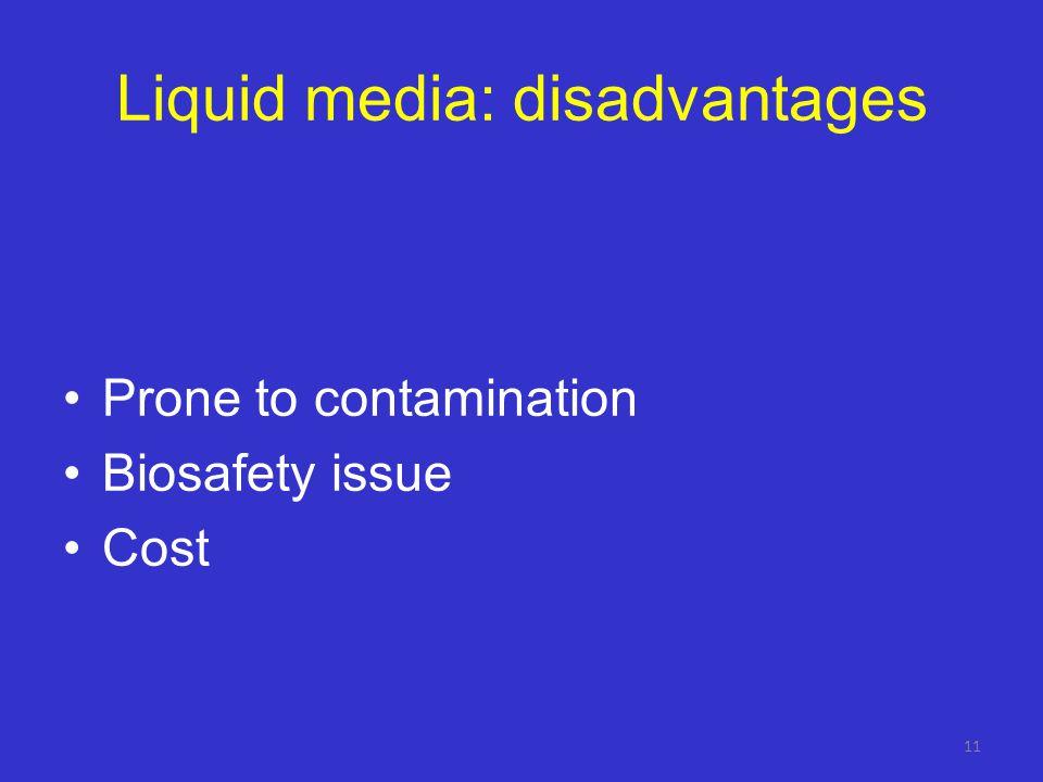 Liquid media: disadvantages