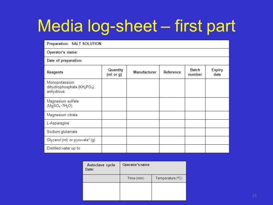 Media log-sheet – first part
