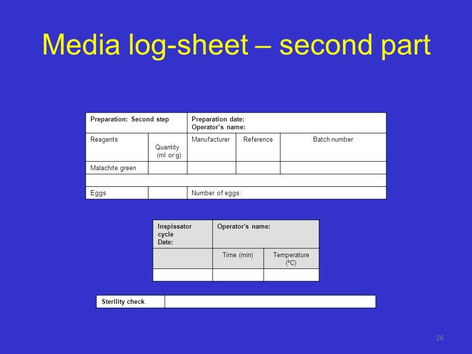 Media log-sheet – second part