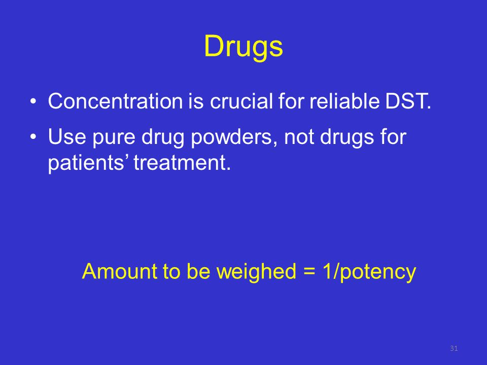 Amount to be weighed = 1/potency