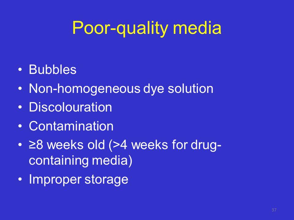 Poor-quality media Bubbles Non-homogeneous dye solution Discolouration