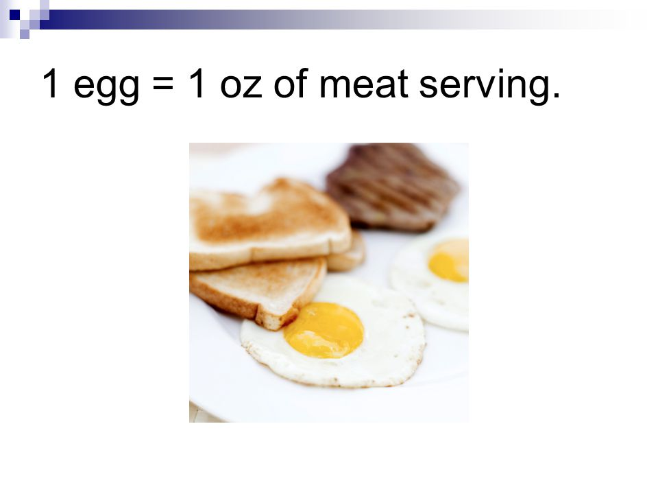 1 egg = 1 oz of meat serving.