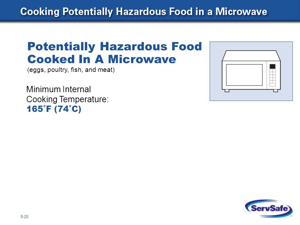 Potentially Hazardous Food Cooked In A Microwave (eggs, poultry, fish, and meat)