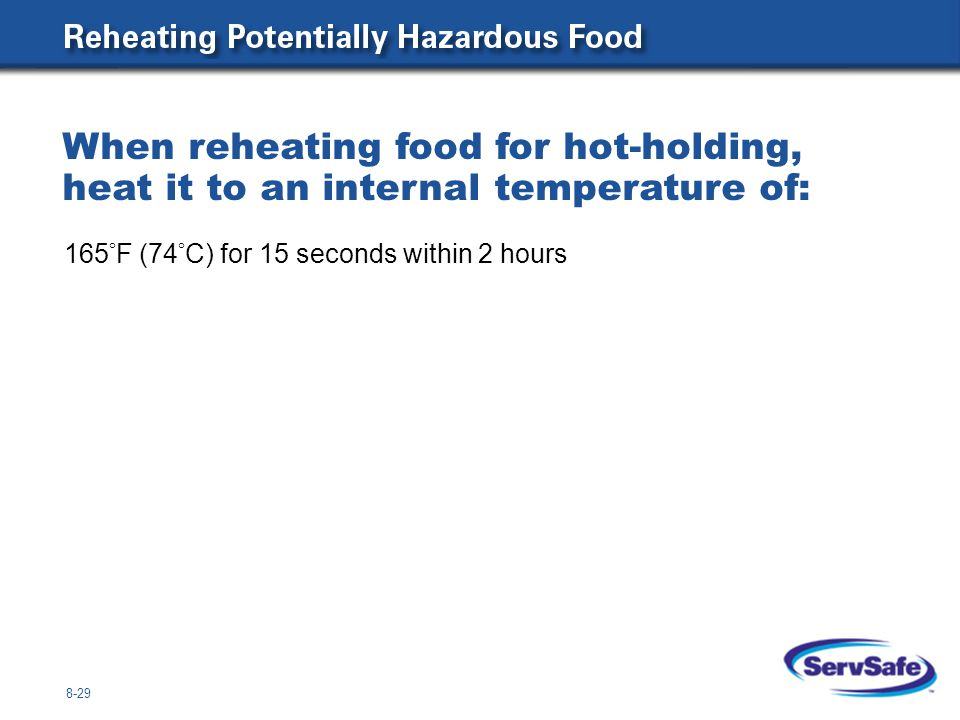 When reheating food for hot-holding, heat it to an internal temperature of: