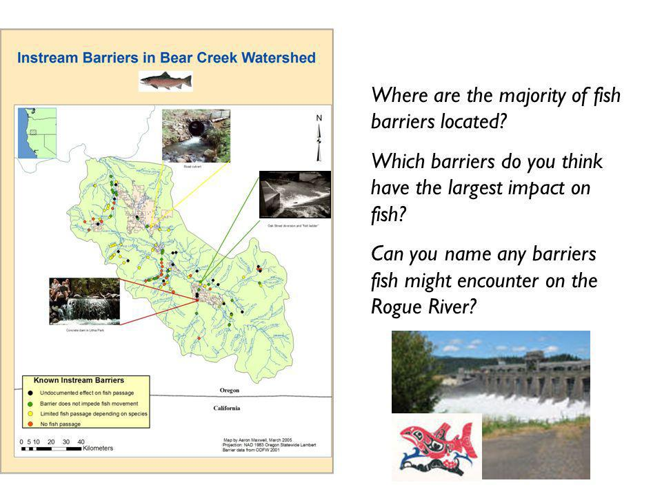 Where are the majority of fish barriers located