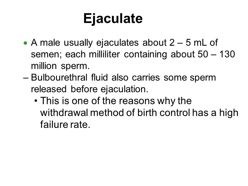 Ejaculate A male usually ejaculates about 2 – 5 mL of semen; each milliliter containing about 50 – 130 million sperm.