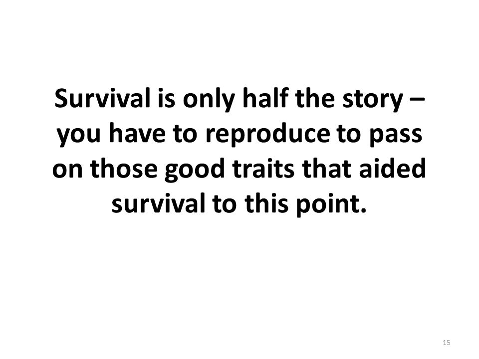Survival is only half the story – you have to reproduce to pass on those good traits that aided survival to this point.
