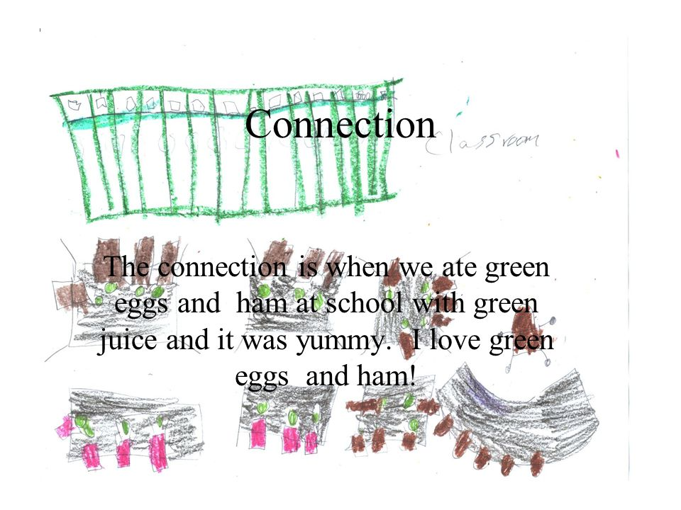 Connection The connection is when we ate green eggs and ham at school with green juice and it was yummy.
