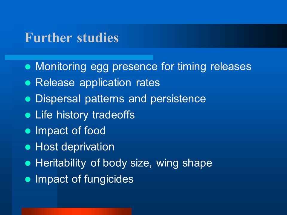 Further studies Monitoring egg presence for timing releases
