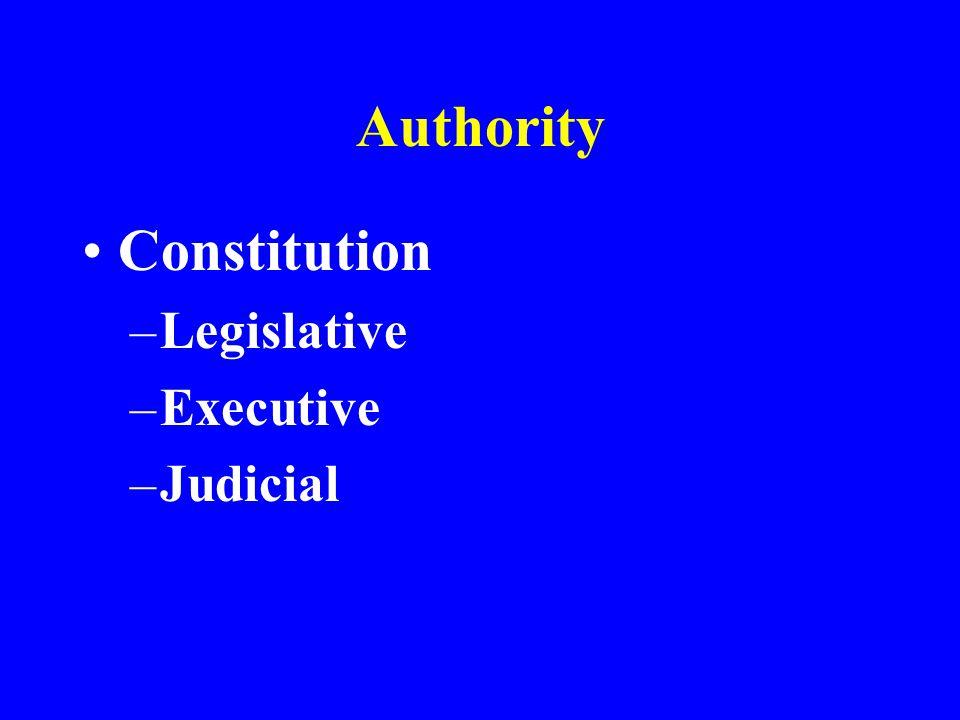 Authority Constitution Legislative Executive Judicial