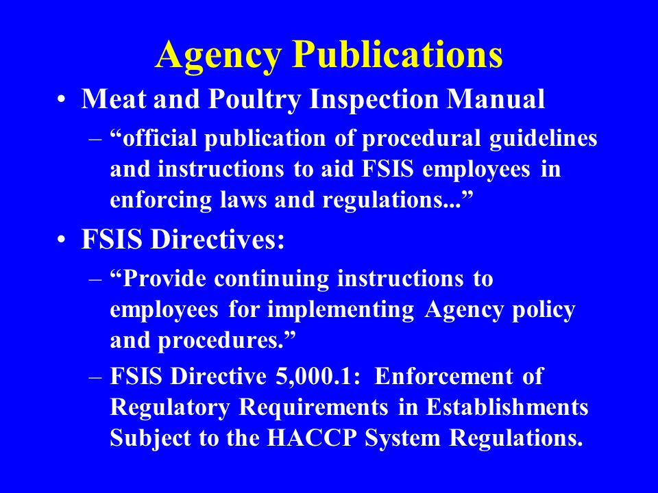 Agency Publications Meat and Poultry Inspection Manual