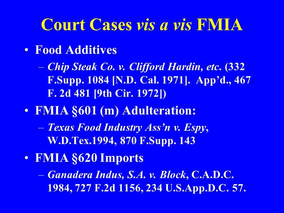 Court Cases vis a vis FMIA