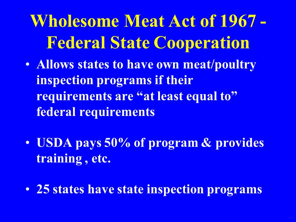 Wholesome Meat Act of 1967 - Federal State Cooperation