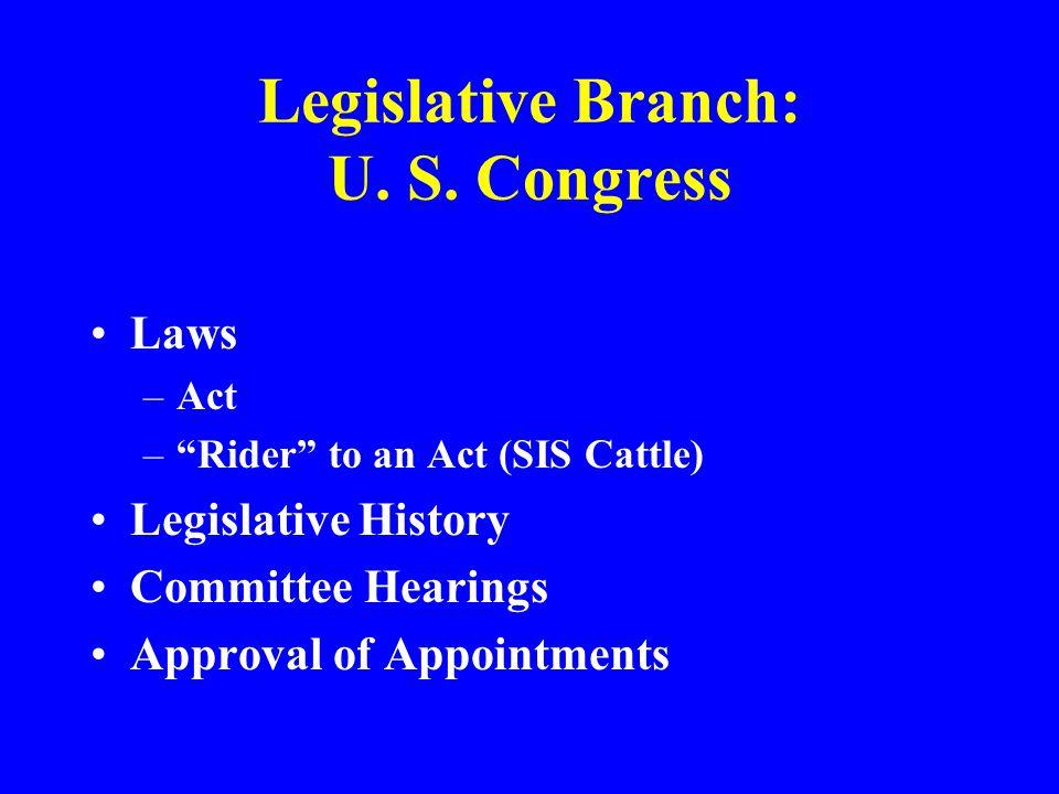 Legislative Branch: U. S. Congress