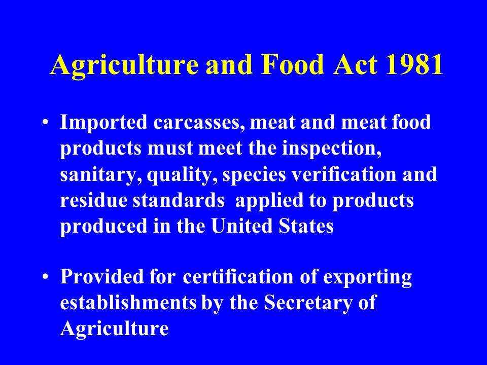 Agriculture and Food Act 1981