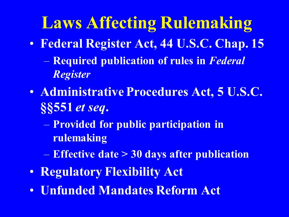 Laws Affecting Rulemaking