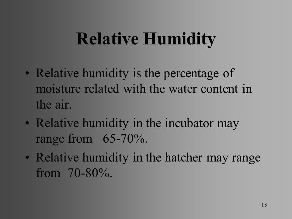 Relative Humidity Relative humidity is the percentage of moisture related with the water content in the air.