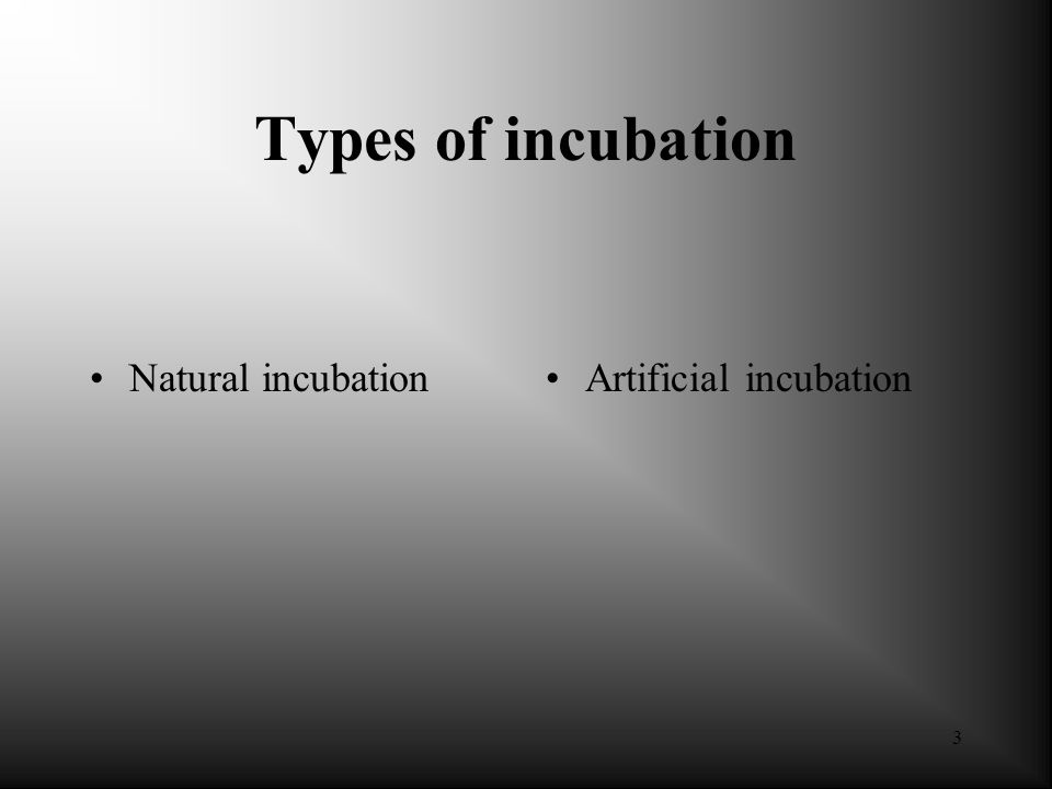 Types of incubation Natural incubation Artificial incubation