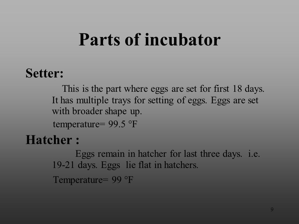 Parts of incubator