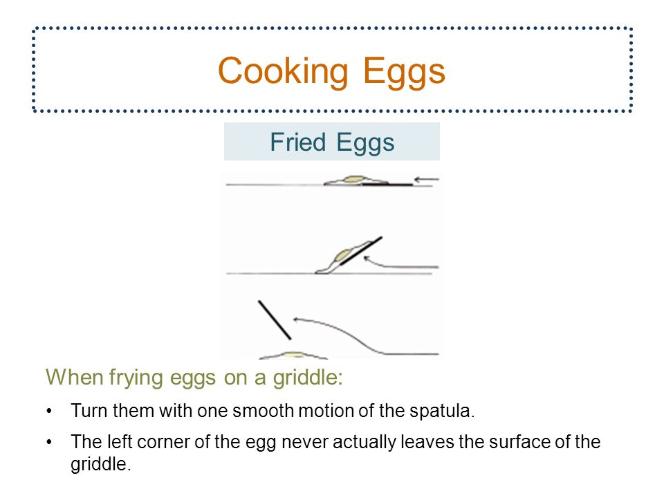 Cooking Eggs Fried Eggs When frying eggs on a griddle: