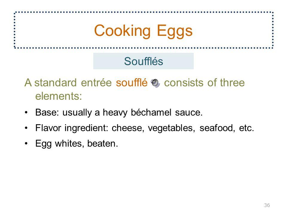 Cooking Eggs Soufflés. A standard entrée soufflé consists of three elements: Base: usually a heavy béchamel sauce.