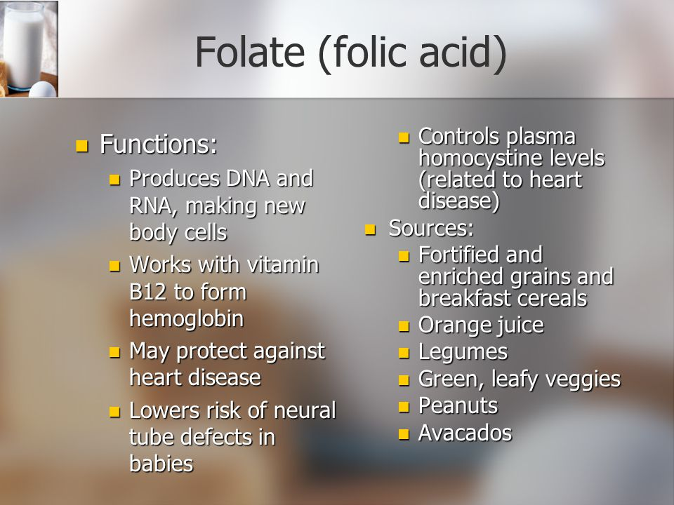 Folate (folic acid) Functions: