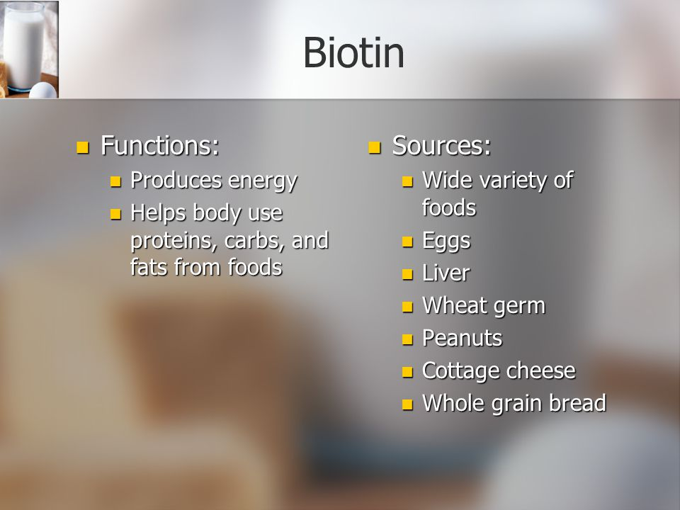 Biotin Functions: Sources: Produces energy