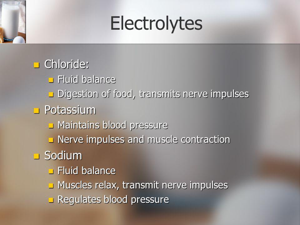 Electrolytes Chloride: Potassium Sodium Fluid balance