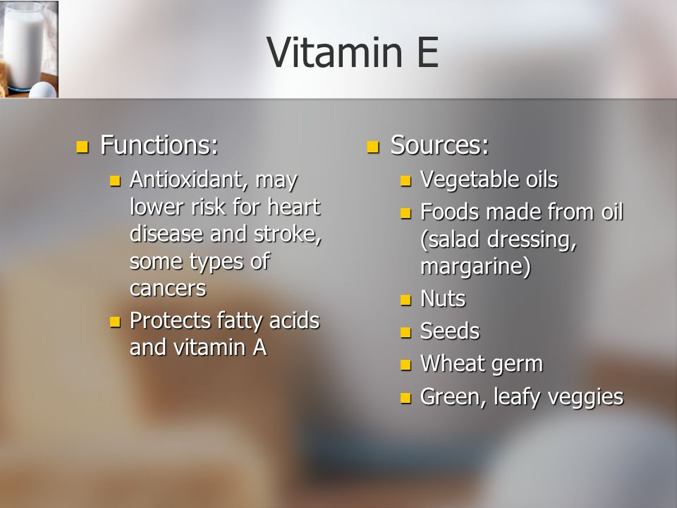 Vitamin E Functions: Sources: