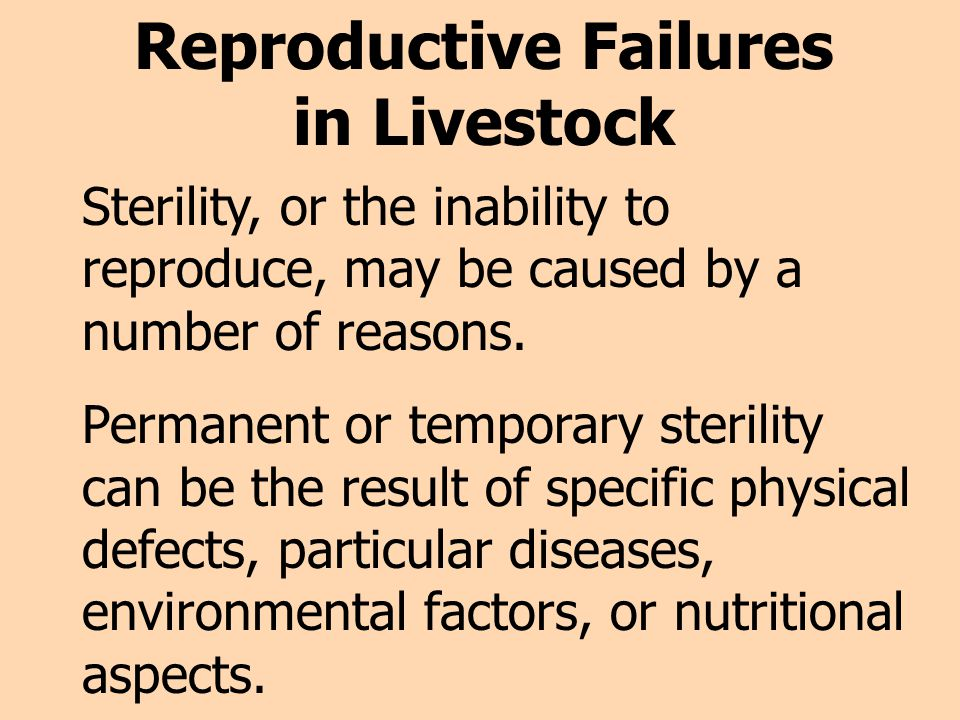 Reproductive Failures in Livestock